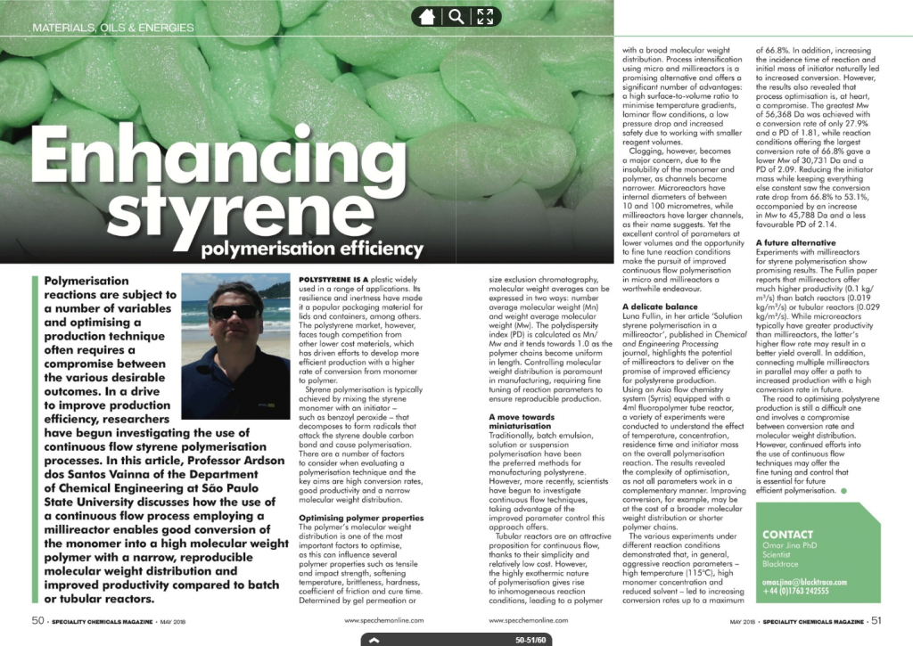Enhancing the efficiency of styrene polymerization: Syrris gets a mention in Speciality Chemicals Magazine